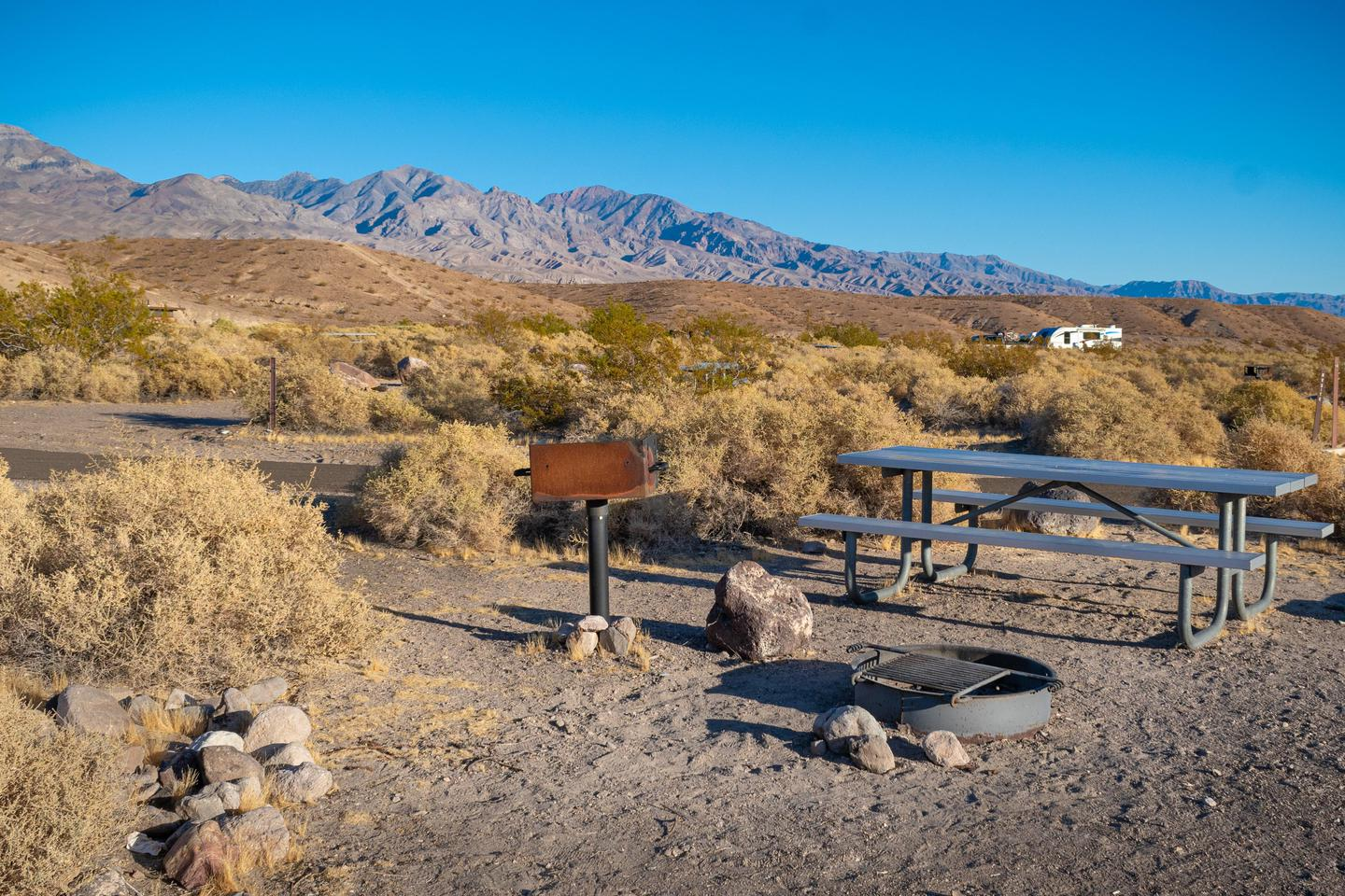 Mesquite Springs Campground Sample Site #3A few sites have pole-mounted barbeques.
