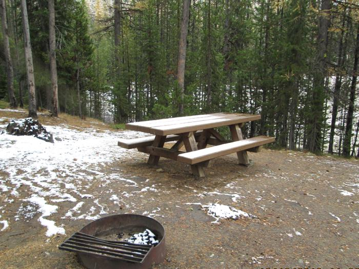 campsite picnic table and fire ringOlive Lake Campground site #1