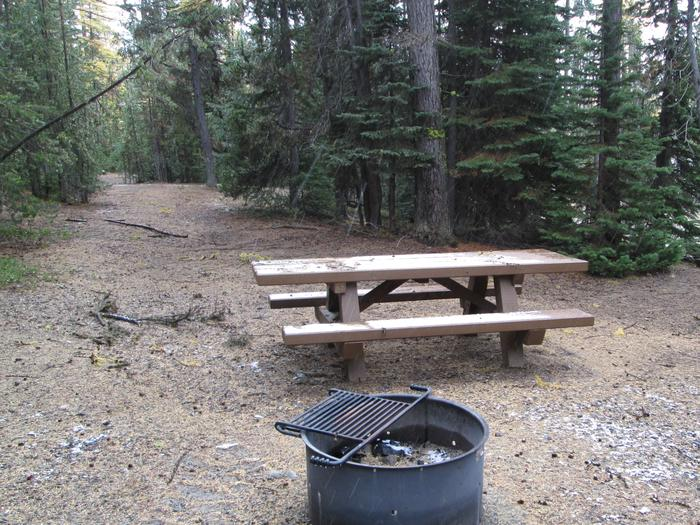 campsite picnic table and fire ringOlive Lake Campground site #3