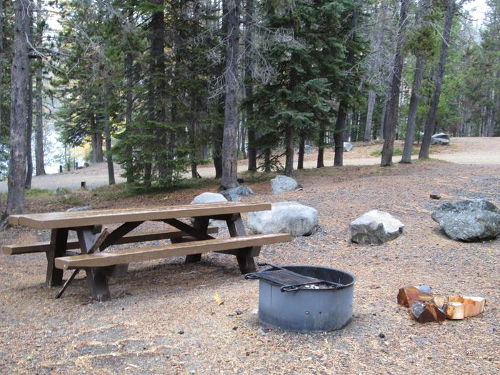 campsite picnic table and fire ringOlive Lake Campground site #4