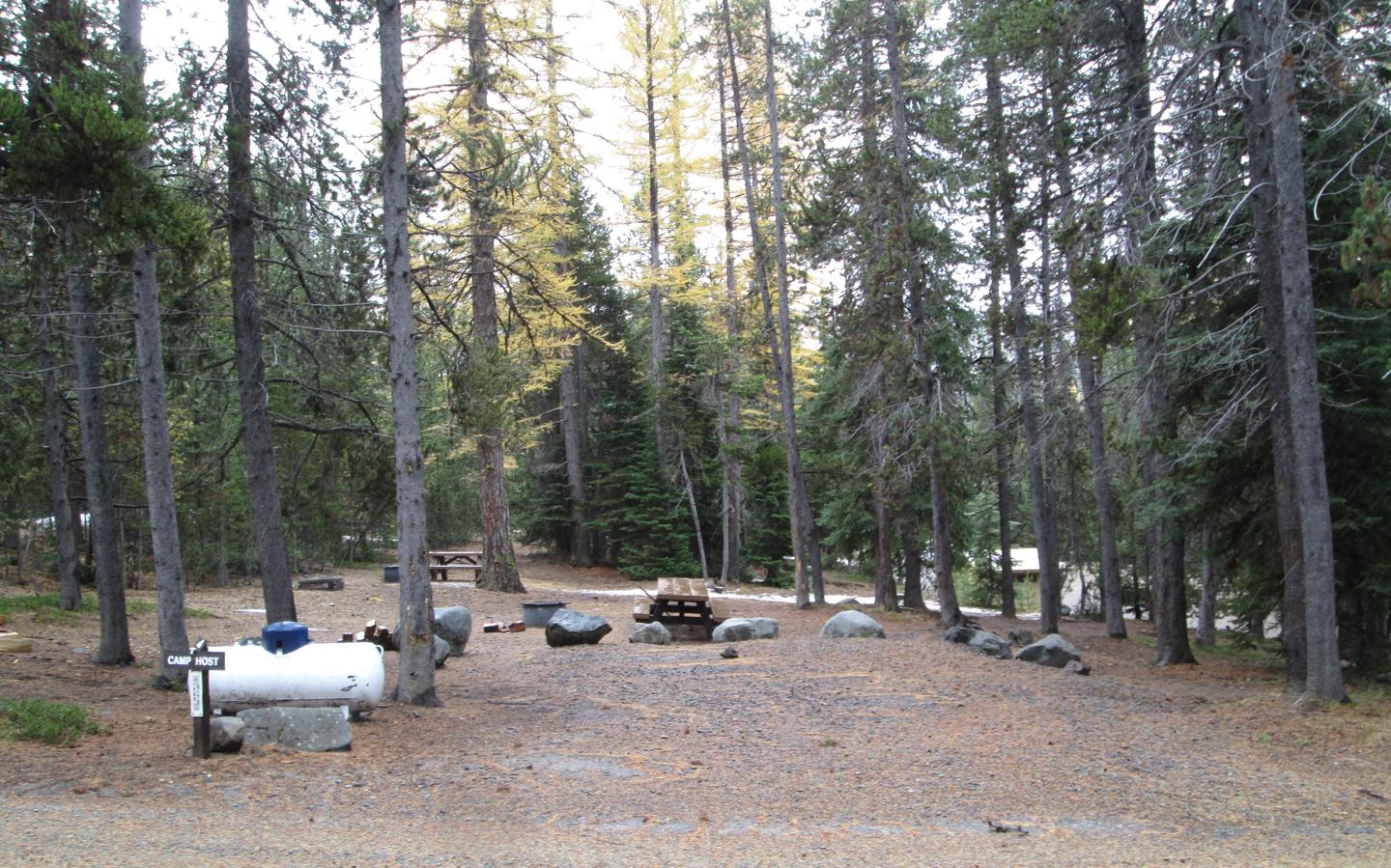 camp site parking area and entrance signOlive Lake Campground site #4