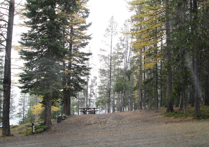 campsite parking area and entrance signOlive Lake Campground site #5