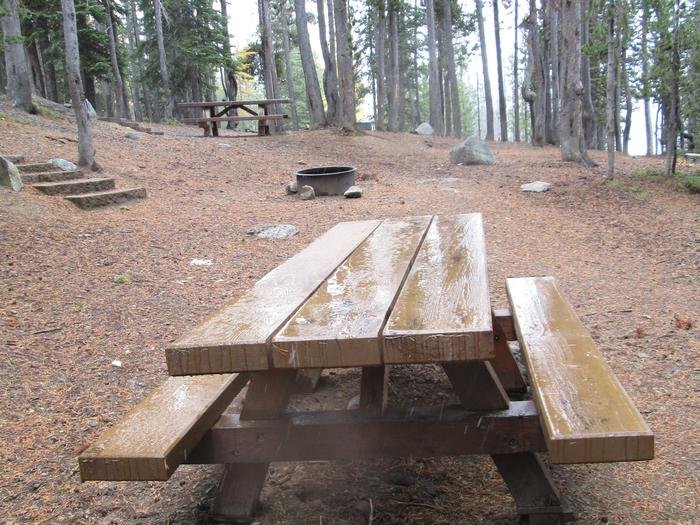 campsite fire ring and picnic tableOlive Lake Campground site #7