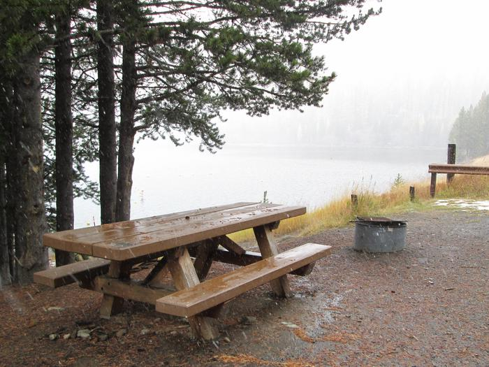 campsite picnic table and fire ringOlive Lake Campground site #9