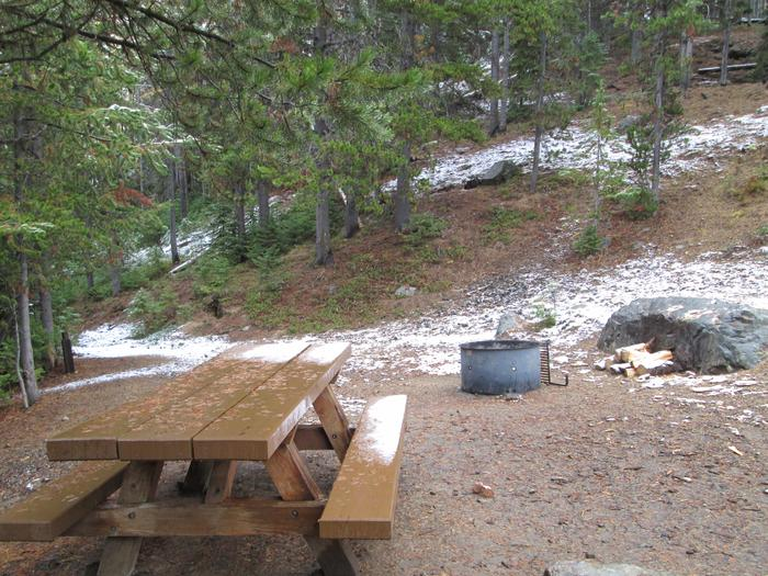 campsite picnic table and fire ringOlive Lake Campground site #10