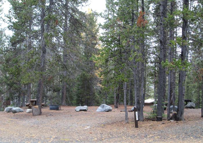 campsite parking area and entrance signOlive Lake Campground site #11