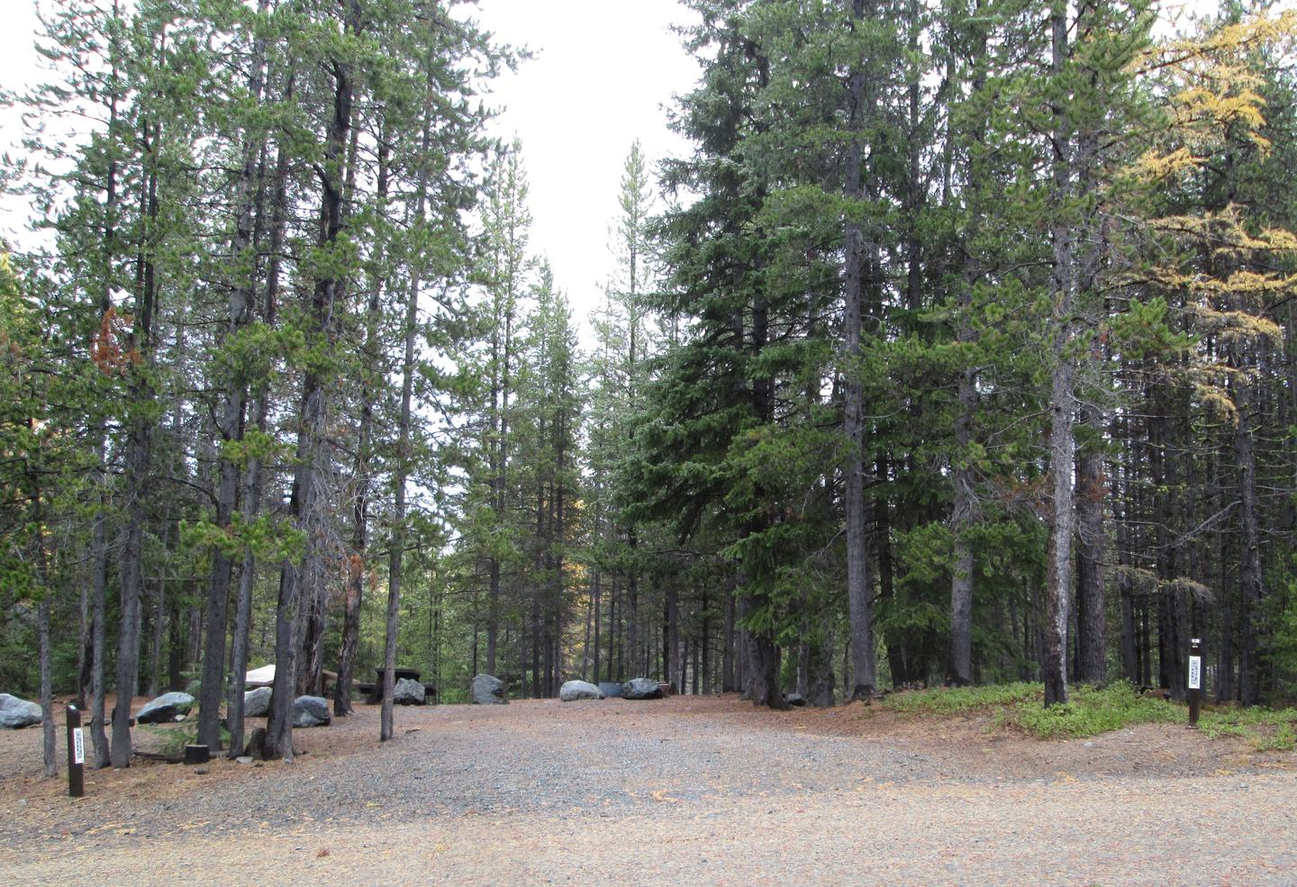 campsite entrance sign and parking areaOlive Lake Campground site #12