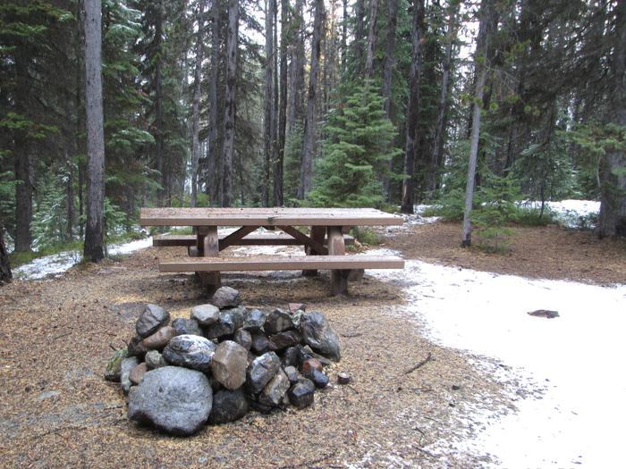 campsite picnic table and fire ringOlive Lake Campground site #24