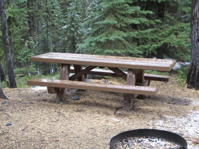 campsite fire ring and picnic tableOlive Lake Campground site #25