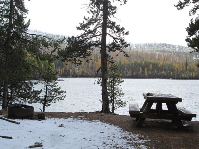 campsite picnic table and fire ringOlive Lake Campground site #26