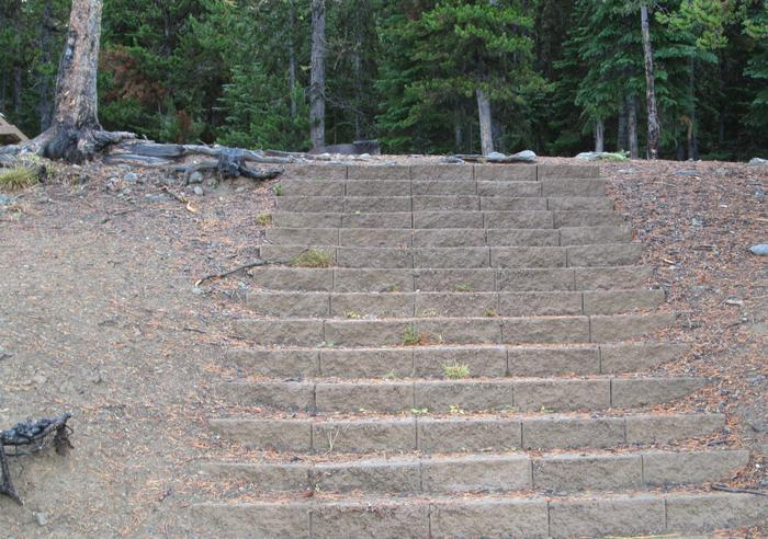 campsite stairsOlive Lake Campground site #26 stairs