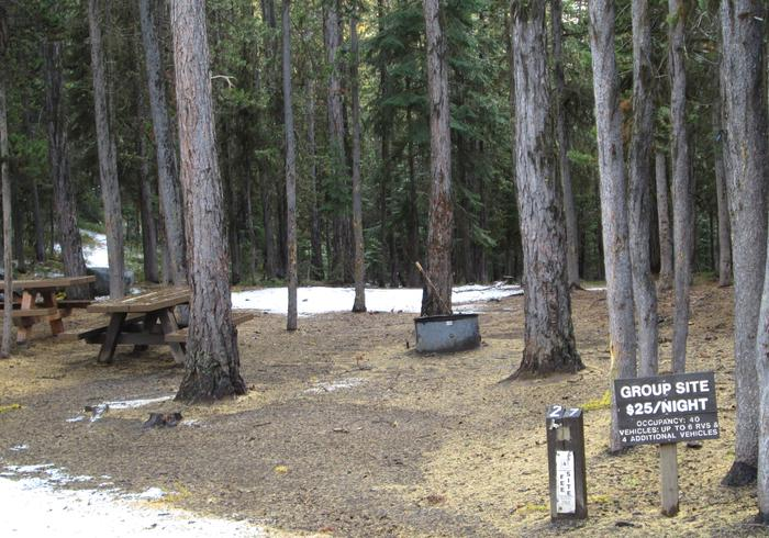 campsite entrance sign and parking areaOlive Lake Campground site #27