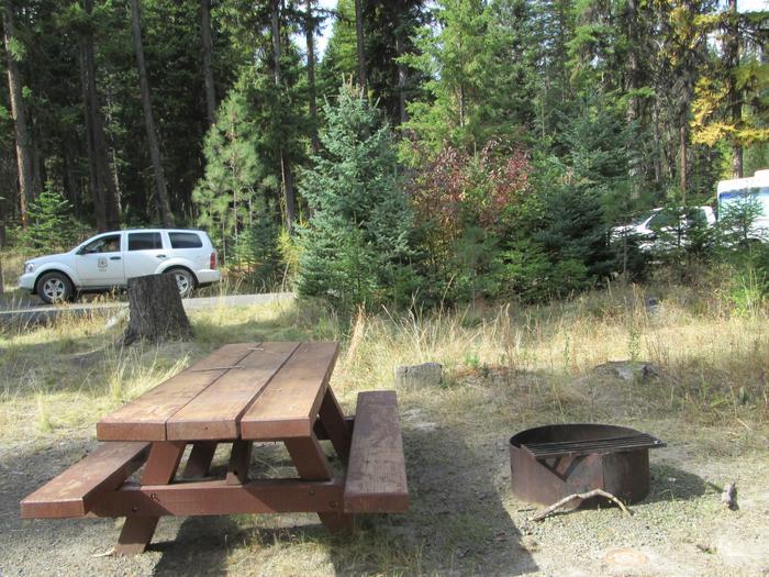 campsite picnic table and fire pitBull Prairie Lake site #1
