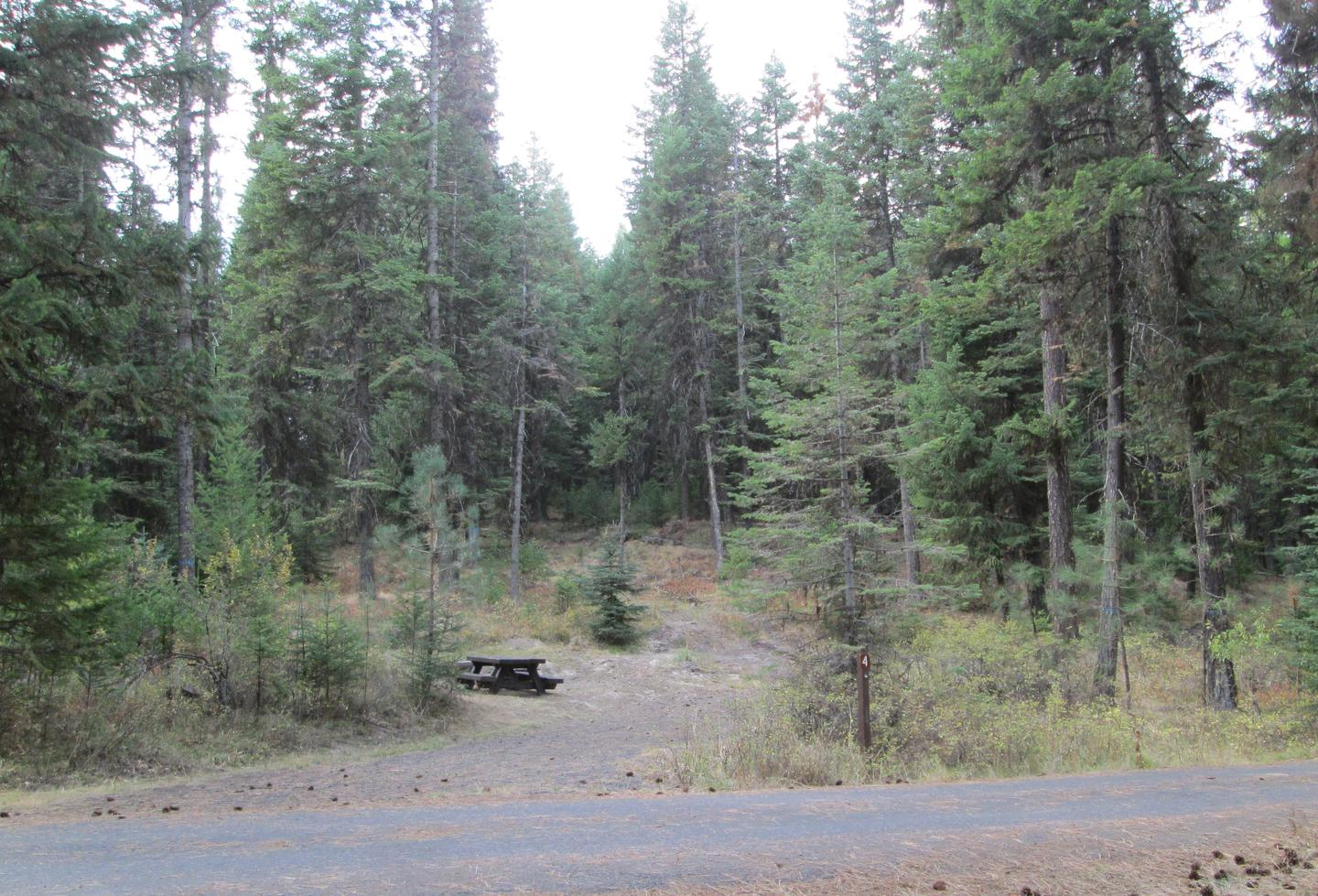 campsite parking area and entrance signBull Prairie Lake site #4