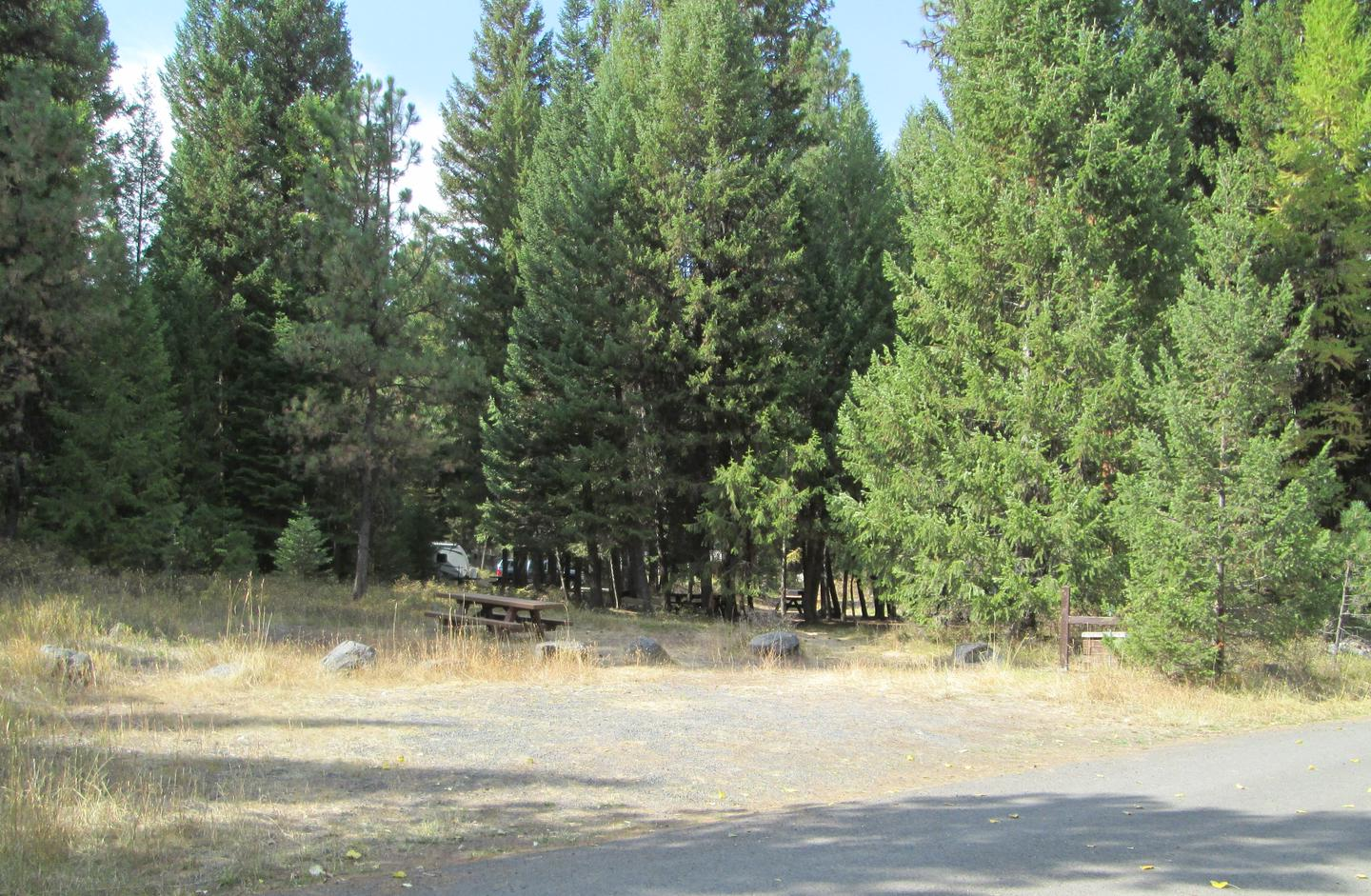 campsite parking area and entrance signBull Prairie Lake site #9