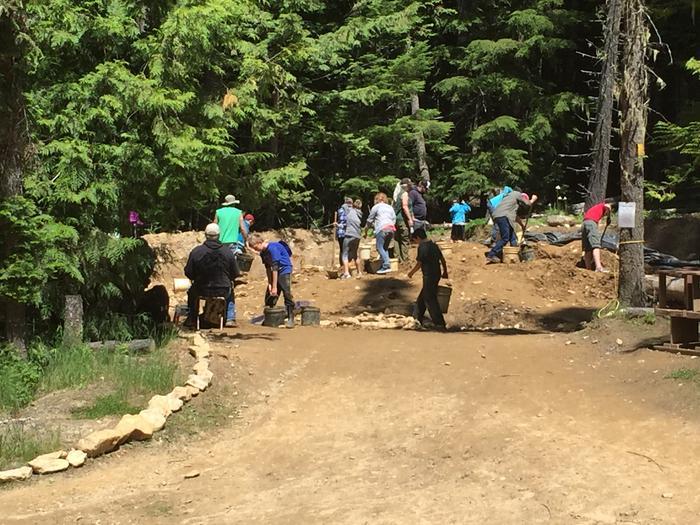 Garnet Material PileVisitors digging in pile for garnets.