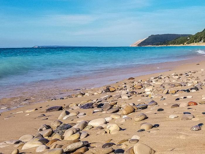 Beach pebblesLake and beach