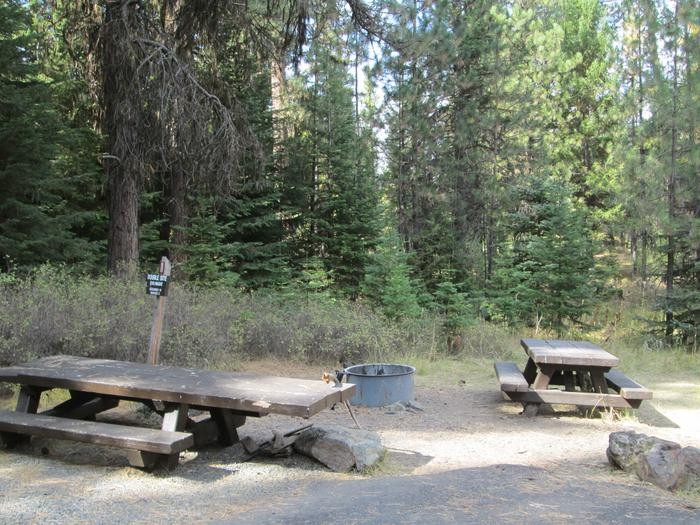 campsite picnic table and fire ringBull Prairie Lake Campground site #11