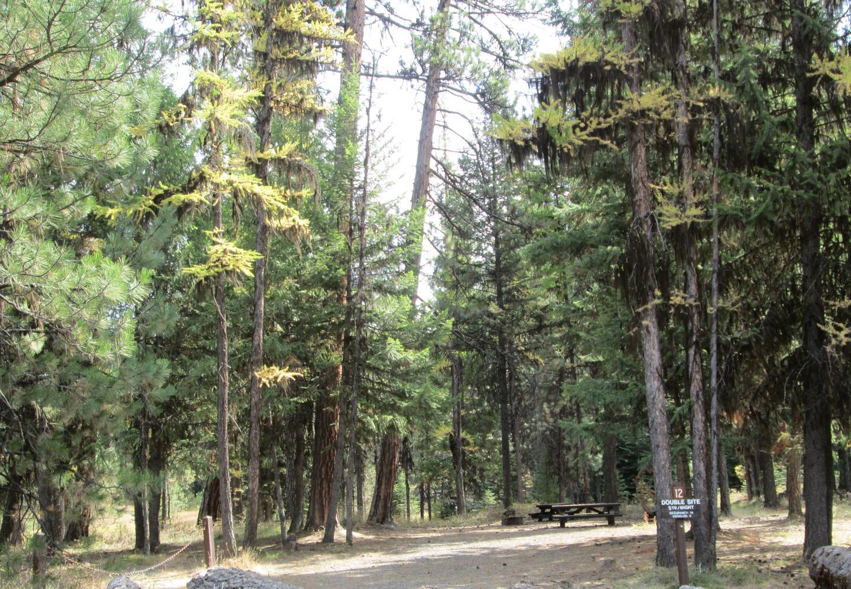 campsite entrance signBull Prairie Lake Campground site #12