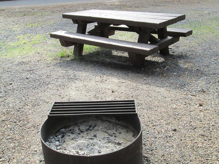 campsite picnic table and fire ringBull Prairie Lake Campground site #13