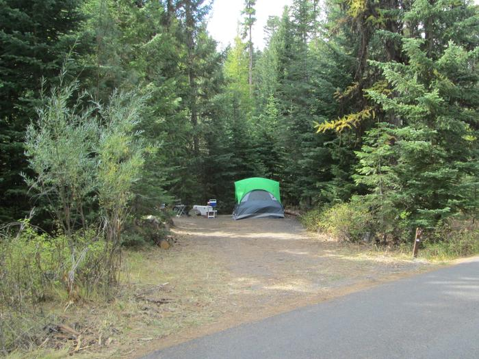 campsite area and entrance signBull Prairie Lake Campground site #17