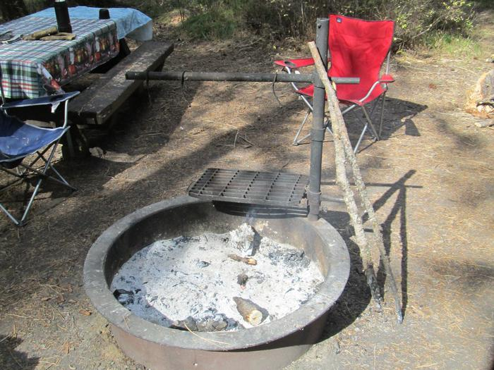 campsite picnic table and fire ringBull Prairie Lake Campground site #21