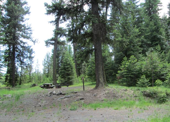 campsite area and entrance signBull Prairie Lake Campground site #25