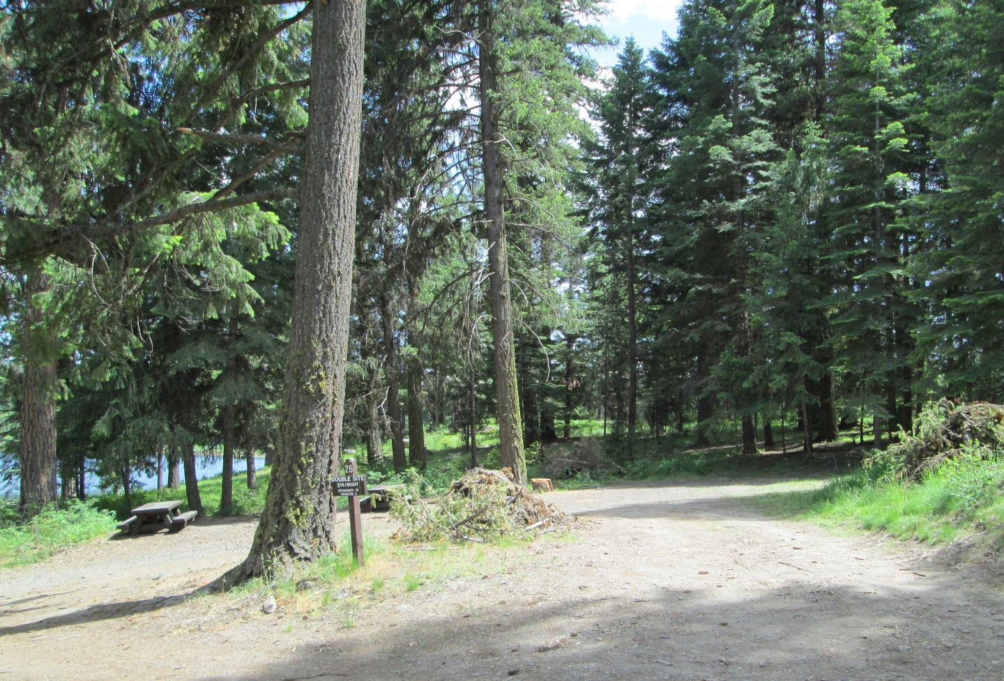 campsite parking area and entrance signBull Prairie Lake Campground site #26