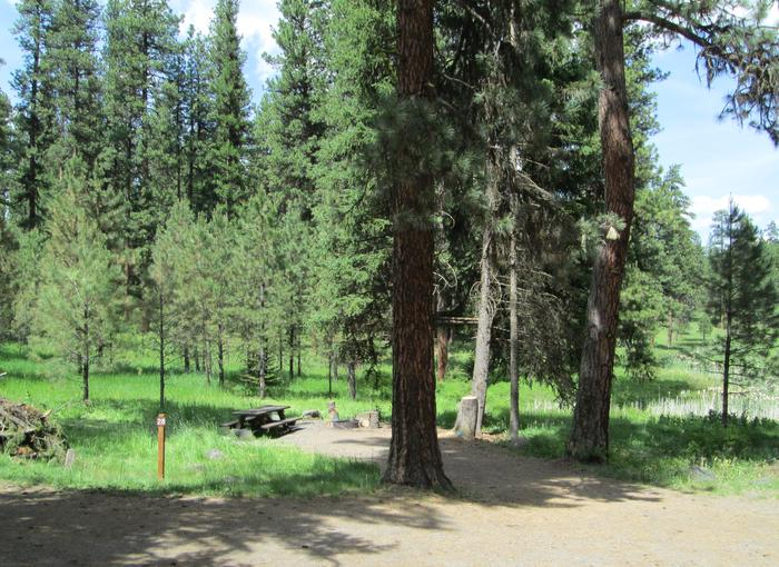 campsite parking area and entrance signBull Prairie Lake Campground site #28
