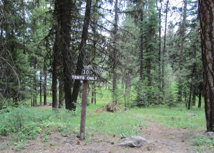 campsite entrance area and signBull Prairie Lake Campground site #30