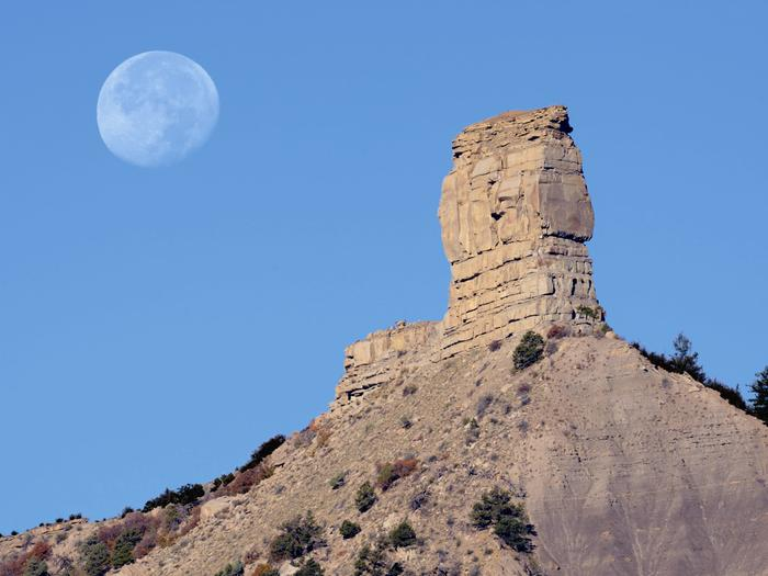 Moon over Chimney Rock