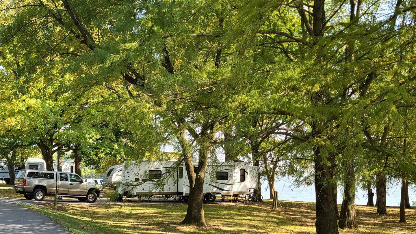 Boulder Campground, Carlyle Lake, IllinoisView of campsites at Boulder Campground.