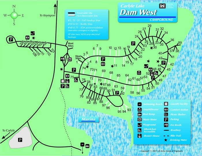 Dam West Campground MapMap of Dam West Campground layout.