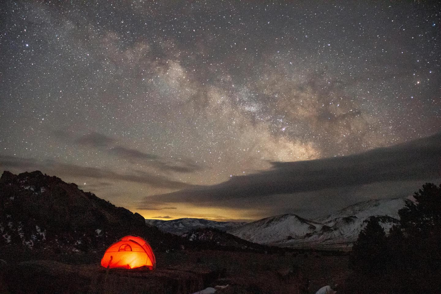 Camping Under the Milky WayThe dark skies in City of Rocks provide excellent conditions for star gazing.