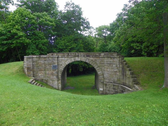 Skew Arch BridgeThe Skew Arch Bridge carried turnpike traffic over the Allegheny Portage Railroad. The bridge can be accessed by vehicle or the Skew Arch Bridge trail within the park that parallels Inclined Plane 6.