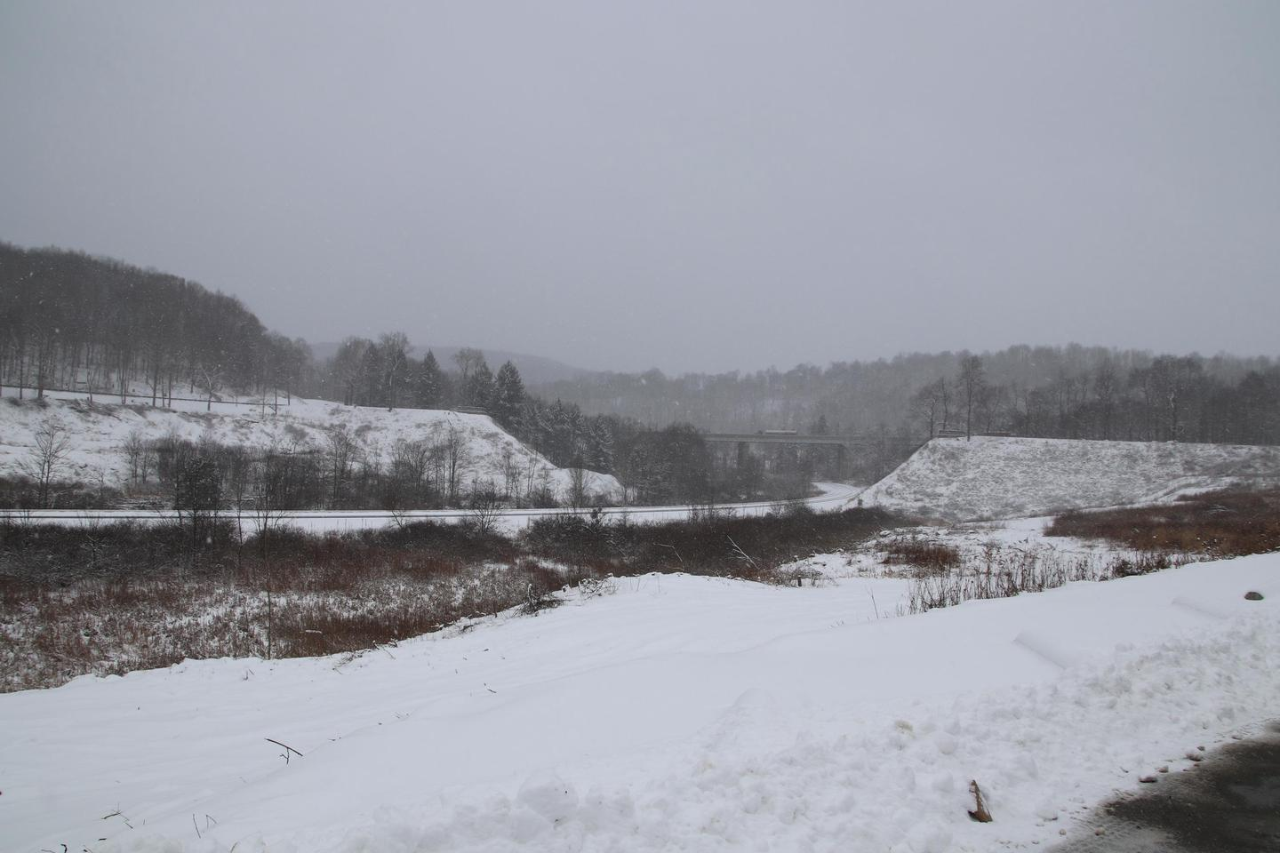 The remains of the South Fork DamRemains of the South Fork Dam with snow