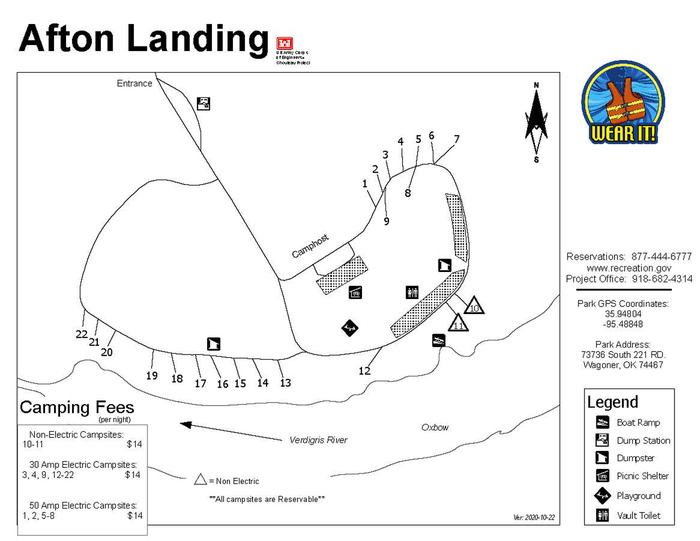 Afton Landing mapThis campground is equipped with 22 campsites and one group shelter