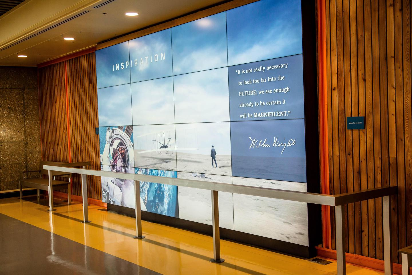 video wallThe video wall in the Flight Rooom depicts great moments in powered flight.