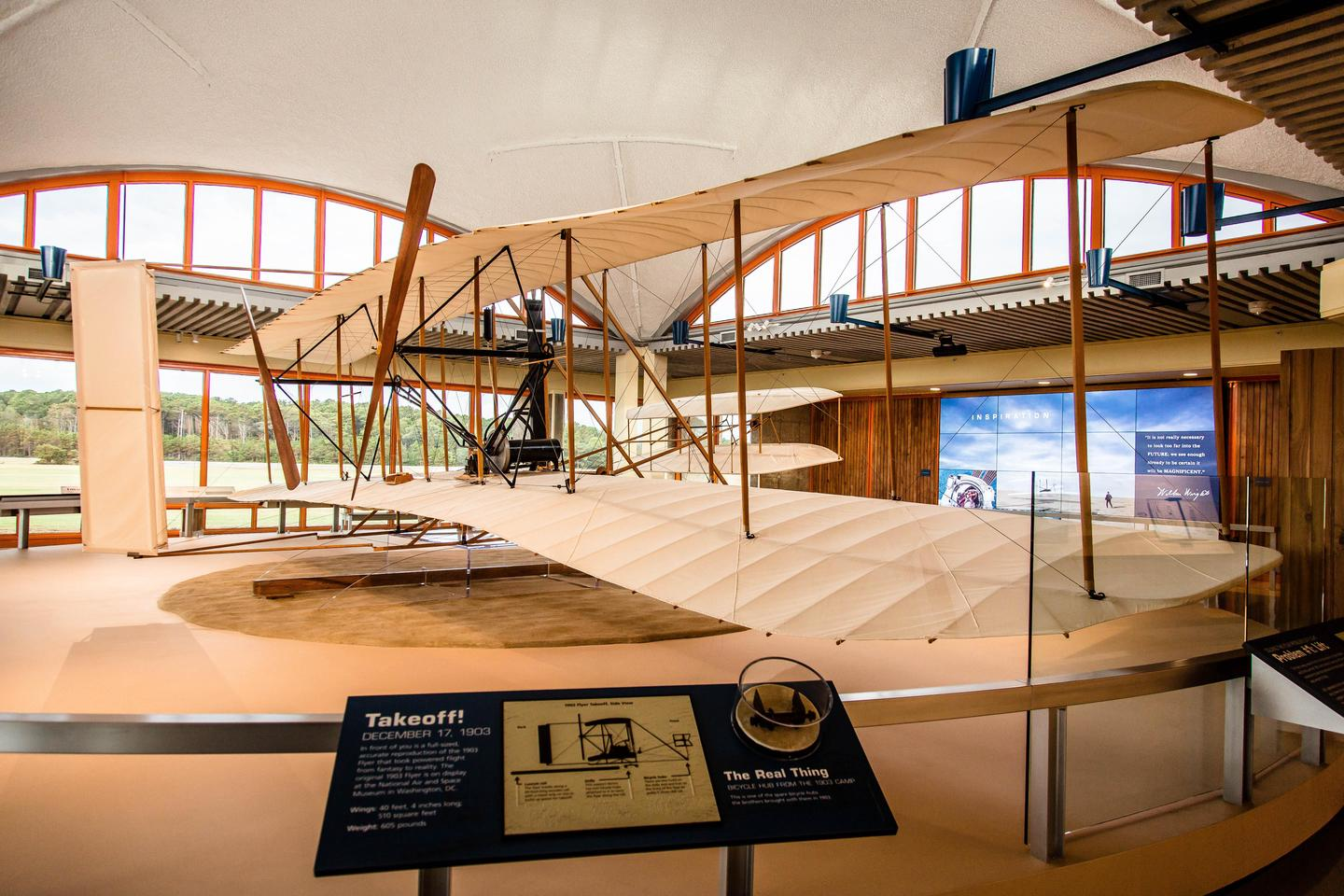 flight roomA replica of the 1903 flyer is on display in the Flight Room, helping bring this amazing moment to life.