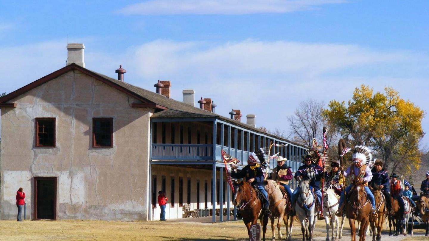 Three Affiliated Tribes Ride at Cavalry BarracksRiding toward the parade ground