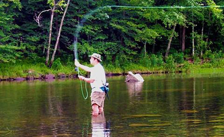 Fly fishing at Greeson Lake