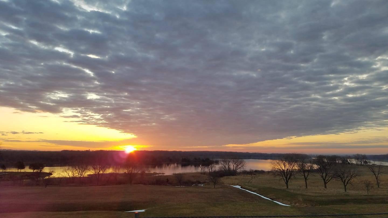 Sunrise over Lake Yankton from Gavins Point Dam