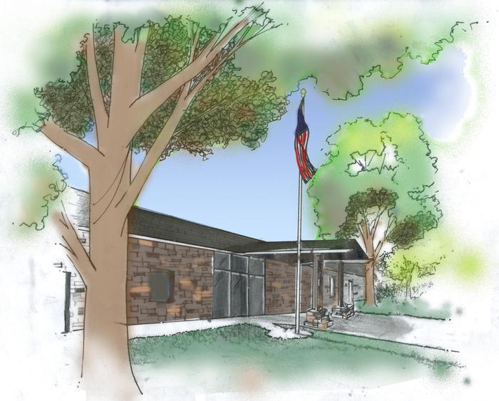Watercolor Painting of the Visitor CenterThe visitor center and museum building it the first stop to your Pipe Spring adventure.