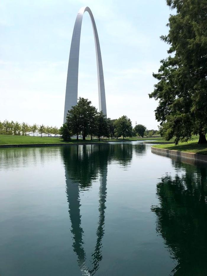 The Gateway Arch reflectedA walk around the Gateway Arch grounds provide many chances to view the Arch from many different angles.