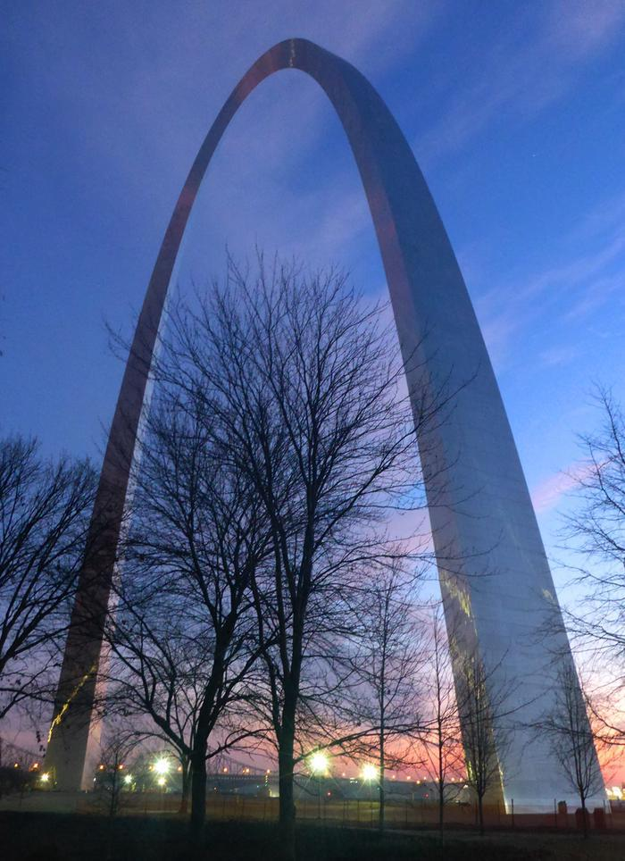 Gateway Arch at SunriseThe sunrise coming up behind the Gateway Arch.
