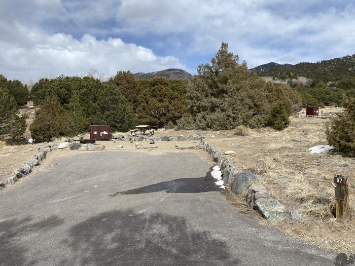 View of Site #87 from road showing driveway, campsite and trees in backgroundSite 87, Pinon Flats Campground