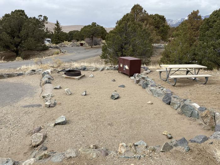 Close-up view of site #87 from the side showing tent pad, fire ring, bear box, picnic table and road in the background.Site 87, Pinon Flats Campground