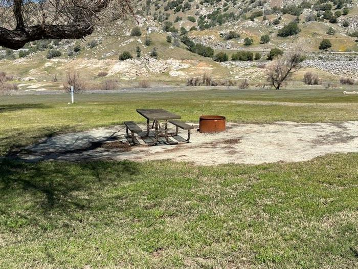 Camping site in the spring. Has some limited shade.Picnic table and fire ring for campsite.