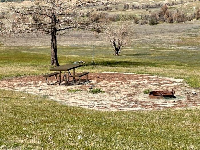Picnic area at site.Picnic table and fire ring at campsite.