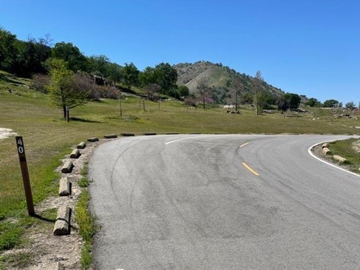 Pull-through driveway along roadside.Pull-through driveway along roadside. Slight grade.
